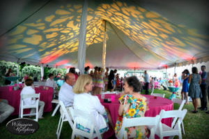 Under tent event lighting with gobo pattern