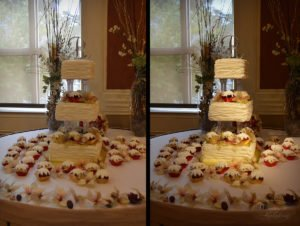 wedding cake pin spot lighting