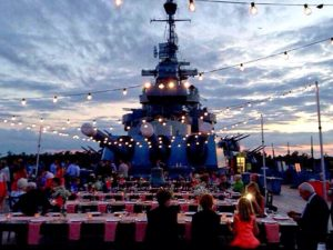 event lighting at the USS North Carolina battleship Wilmington, NC