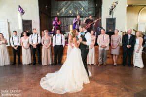 wedding reception lighting Edison bulbs Brooklyn Arts Center Wilmington NC Dana Laymon Photography +Mike-564