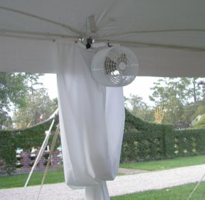 Tent cooling fans event rental Wilmington Uplighitng