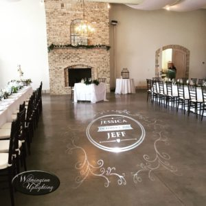 Wrightsville Manor digital monogram projection wrightsville manor wilmington nc wedding venue lighting